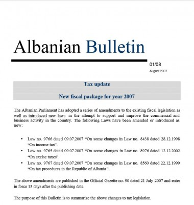 Tax update – new fiscal package July 07