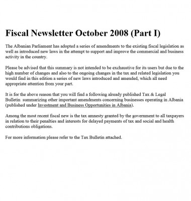 Fiscal Newsletter October 2008 (Part I)