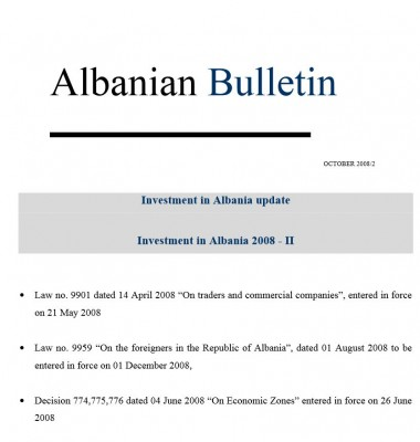 Investment in Albania 2008
