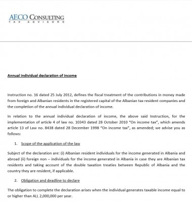 Annual individual declaration of income