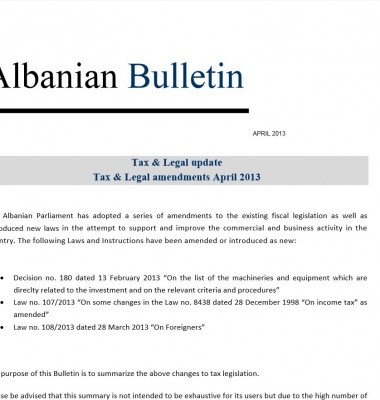 Tax and Legal – April 2013