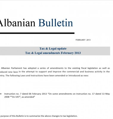 Tax and Legal – February 2013