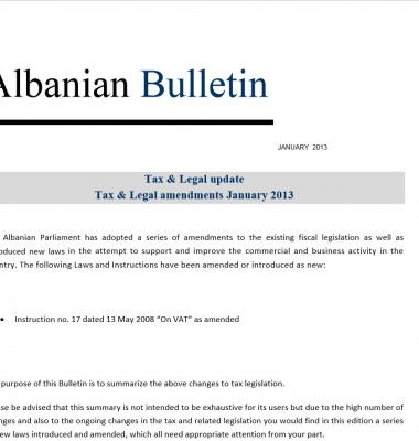 Tax and Legal – January 2013