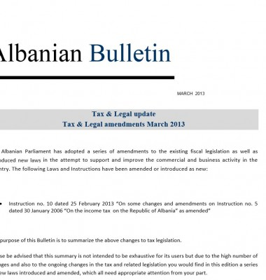 Tax and Legal – March 2013