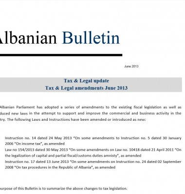 Tax and Legal – July 2013