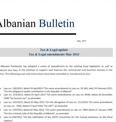 Tax and Legal – May 2013